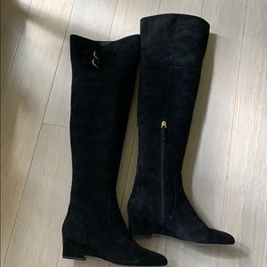 Nine West Jaen Leather Over the Knee Black Boots